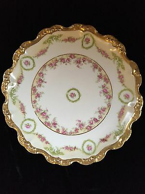 Antiques  Limoges Plate Gold And Pink Roses From Coiffe And,ls&s