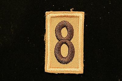 Boy Cub Scout Troop Pack Number # 8 Patch - Olive Green & Tan - Bsa
