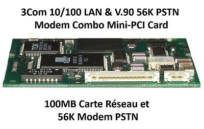 3Com 10/100 LAN & V.90 56K PSTN Modem Combo Mini-PCI Card pour portables laptops
