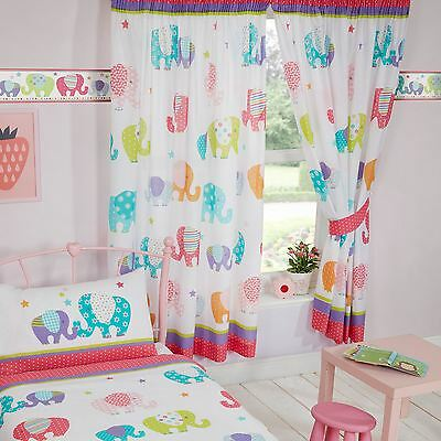 "PATCHWORK ELEPHANTS 66"" x 54"" LINED CURTAINS BEDROOM"