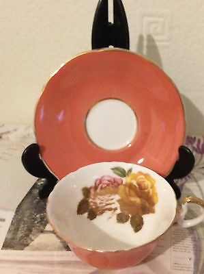 Vintage Aynsley Pretty Bone China Dark Pink Cup And Saucer  Floral Inner