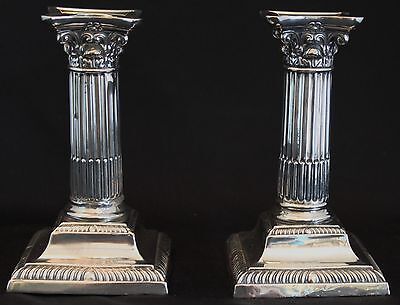"Antique Sterling Silver Corinthian 5 3/4"" Candle Sticks Sheffield England"