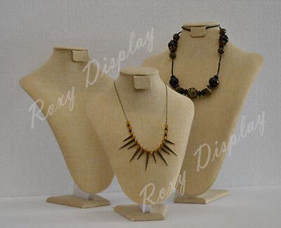 3 Neck Forms Set Linen Jewelry Necklace Display #JW-LN-A3 + A4 + A5