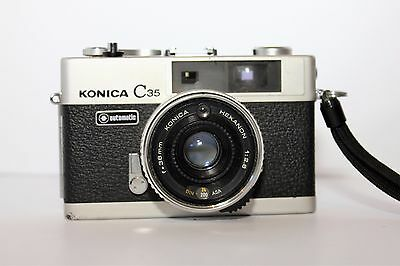 Vintage 1974 Konica C35 Automaic 35mm compact camera with 38mm Hexanon lens GC