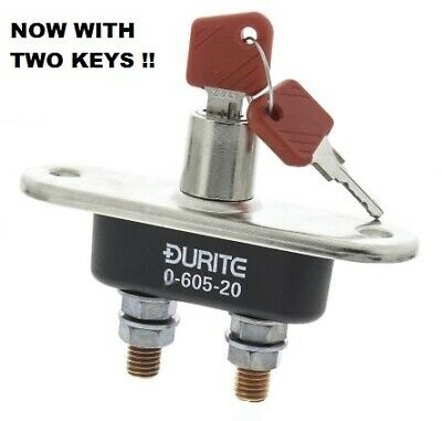 Durite 0-605-20, Battery Isolator with Removable Key in On or Off Position.