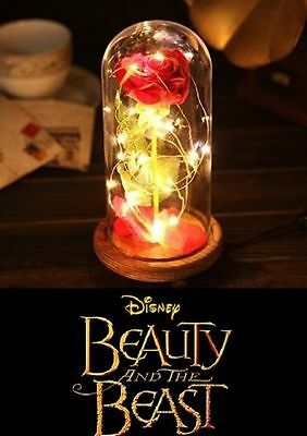 Disney Beauty And The Beast Enchanted Rose Fairy Tale Belle Glass Prop New