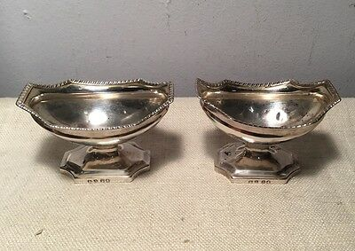 Abstainando King English Georgian Sterling Silver Pair Master Salt Cellars 1801