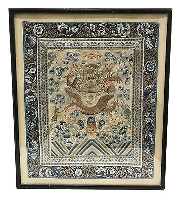 Fine Antique Chinese Hand-Embroidered Silk Framed Dragon Panel - Qing