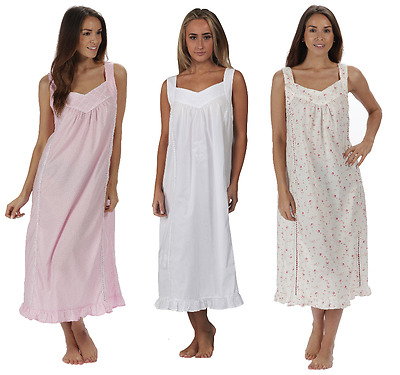100% Cotton Nightdress Sleeveless Nightie 10 12 14 16 18 20 22 24 26 28 Na PWVR