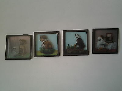 4 x COMICAL DOGS coloured magic lantern slide of dogs