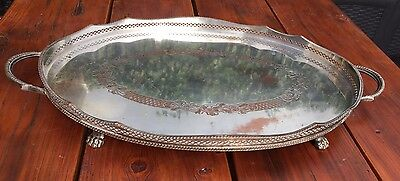 Gallery Tray 2handles Galleried Edge Lion Feet Silver On Copper A1 C-1925