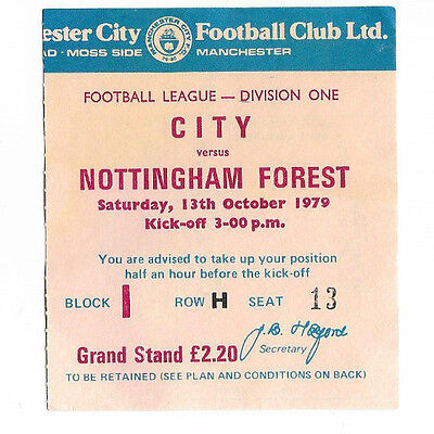 Ticket 1979/80 Division 1 - MANCHESTER CITY v. NOTTINGHAM FOREST