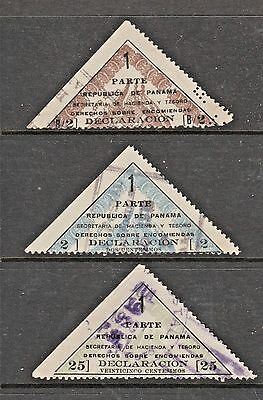 Panama revenue fiscal local or cinderella stamp 31-   customs 3 stamps
