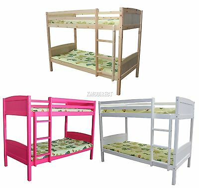 FoxHunter 3FT Wooden Frame Bunk Bed Wood Children Sleeper Single New Furniture