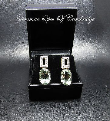 9ct Gold Aquamarine and Diamond Drop Earrings 5g 14 carats