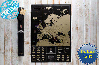 Deluxe World Map Europe Scratch Off Poster Personalized Journal Log Edition Gift