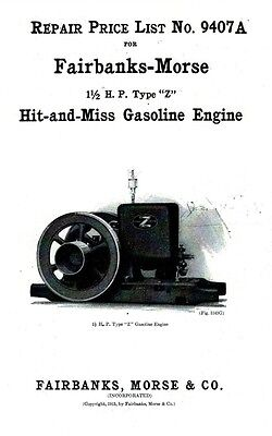 Fairbanks Morse Z 1 1/2 hp Hit Miss Gas Engine Motor Flywheel Book 9407A