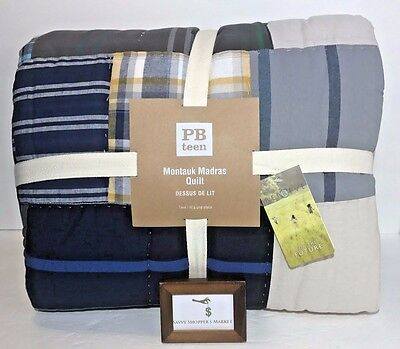 Pottery Barn Montauk Madras Plaid Twin / Twin Xl Patchwork Cotton Quilt Nwt New
