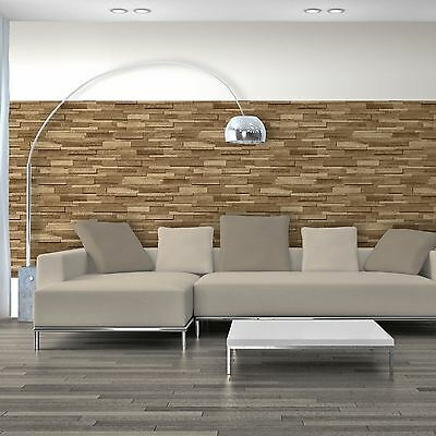 Wooden Slate Wallpaper Brown - Muriva J45307 - New Feature Wall Wood Effect