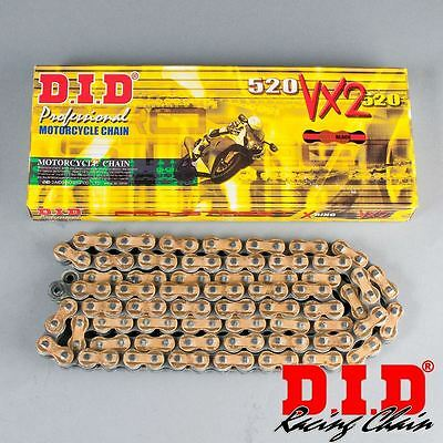 122737 DID Chain Motorcycle Pro VX2  X-Ring  Gold Side Plates 520 120 Links