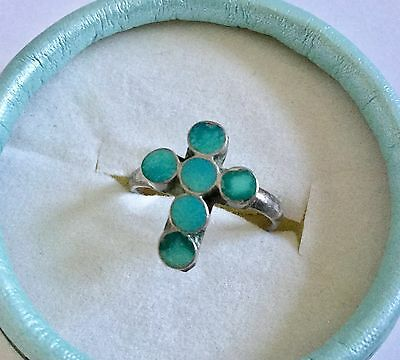 Vintage Zuni Inlay Turquoise Cross Ring, Size 5.5