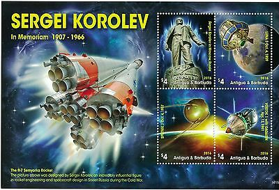 Antigua & Barbuda - 2016 Space Sergei Korolev - Sheet of 4 MNH