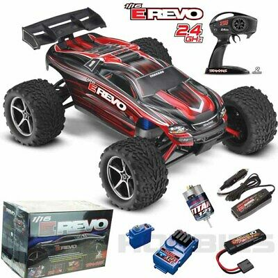 Traxxas 71054-1 E Revo 1/16 4WD Brushed Truck Red RTR w/ TQ Radio / iD Battery