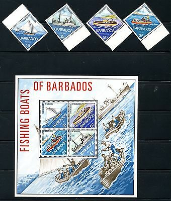 1974 Barbados Scott 392-395a Mint NH w/ SS Fishing Boats of the Island Ship