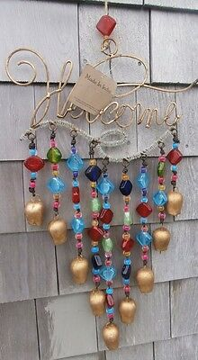 Welcome Sign WIND CHIMES Windchime Decorative Beaded Bells Made in India Lge NIB