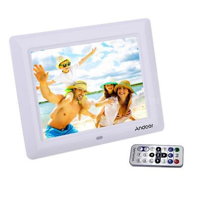 """White 7"""" LCD HD Digital Photo Frame Picture Clock Movie Player+Remote Contorl US"""