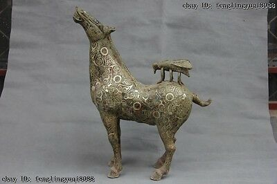 20 Folk Collect Bronze silver-gilt Feng Shui Immediately win Fly on Horse Statue