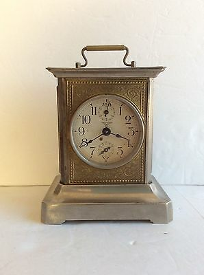 Antique FMS German Music Box Alarm Carriage Clock, Works
