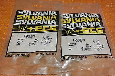 Lot of 2 - Phillips ECG 5673 Triac 15A 200V TO-48 - NEW