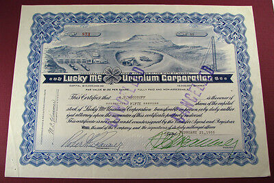 #458 - old 1955 LUCKY Mc URANIUM CORP / NEVADA stock certificate FREMONT WYOMING