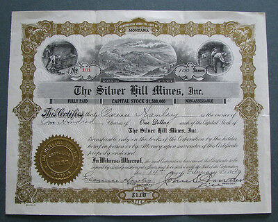 #40 - 1930 SILVER HILL MINES Comet / Basin MONTANA Cataract stock certificate