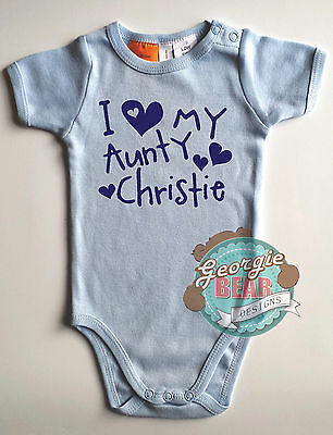 I love my Aunty!  Baby Personalised Blue Cotton Romper, Custom printed one-piece