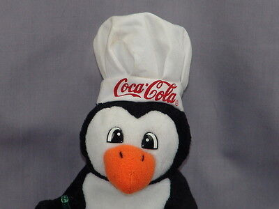 New Coca-Cola Coke Classic Penguin Plush Stuffed Animal Chef Hat Collectible