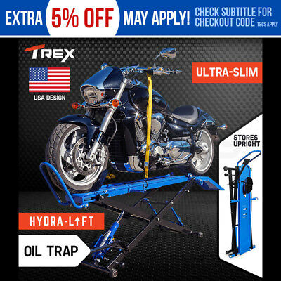 NEW T-REX Motorcycle Lift Hydraulic Jack Hoist Table Portable Compact Bike Air