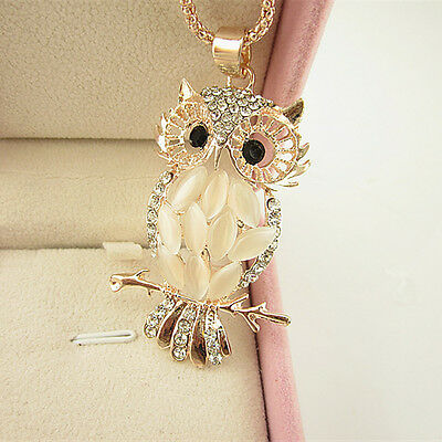 Fashion Women Rose Gold Plated Crystal Owl Pendant Necklace Long Sweater Chain