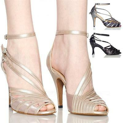 Women's Shoe High Heel Latin Satin Ballroom Salsa Dance Shoes Light Brand New