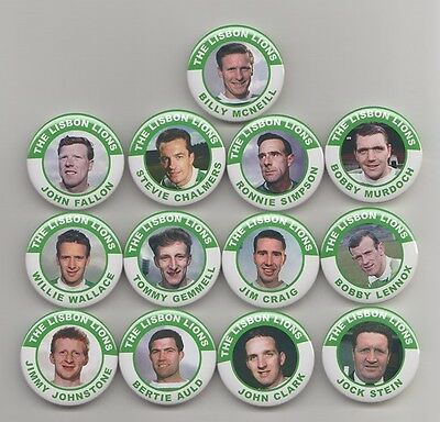 THE LISBON  LIONS 1967  CELTIC FC LEGENDS  BADGES  X13    38mm  IN SIZE