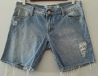 ROXY Cropped Frayed Ripped Distressed Denim Shorts - Size 10