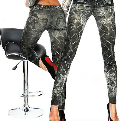US Women's Fashion Jeans Look Skinny Jeggings Stretchy Slim Leggings Soft Pants