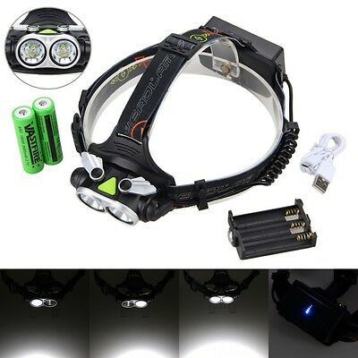 Rechargeable 10000LM 2x XM-L T6 LED Head Headlamp Headlight 3x AA/2x18650 Torch