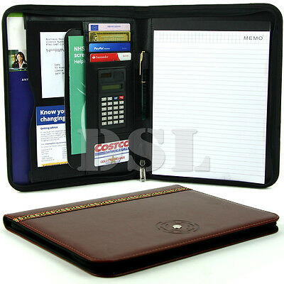 A4 Embroidery Zipped Conference Folder Business Leather Document Case Bag Folio