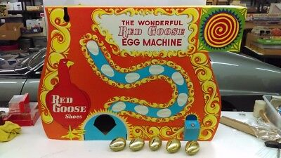 Vintage 1960's Red Goose Shoes Golden Egg Machine Store Display With 5 Toy Eggs