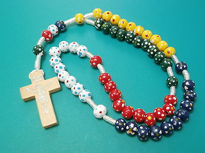 Children's Coloured Wooden Cord Rosary Beads wood + Free Card Catholic Gifts