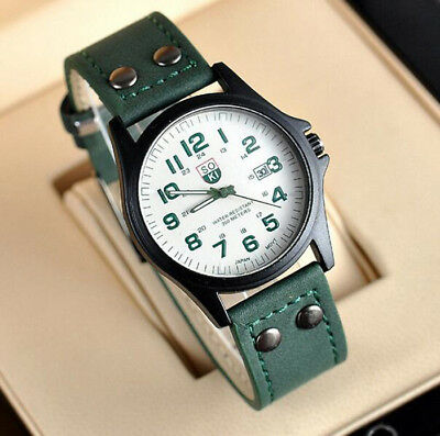 Men's Leather Band Watches Military New WristWatch Gift Analog Quartz Date