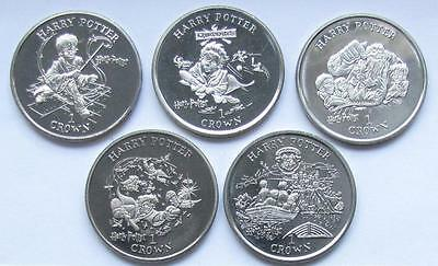 Isle of Man Set of 5 Crown 2001 Harry Potter UNC