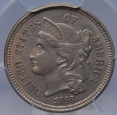 1868 3 Cent Nickel Pcgs Ms 62 Looks Choice Nice Strike And Color
